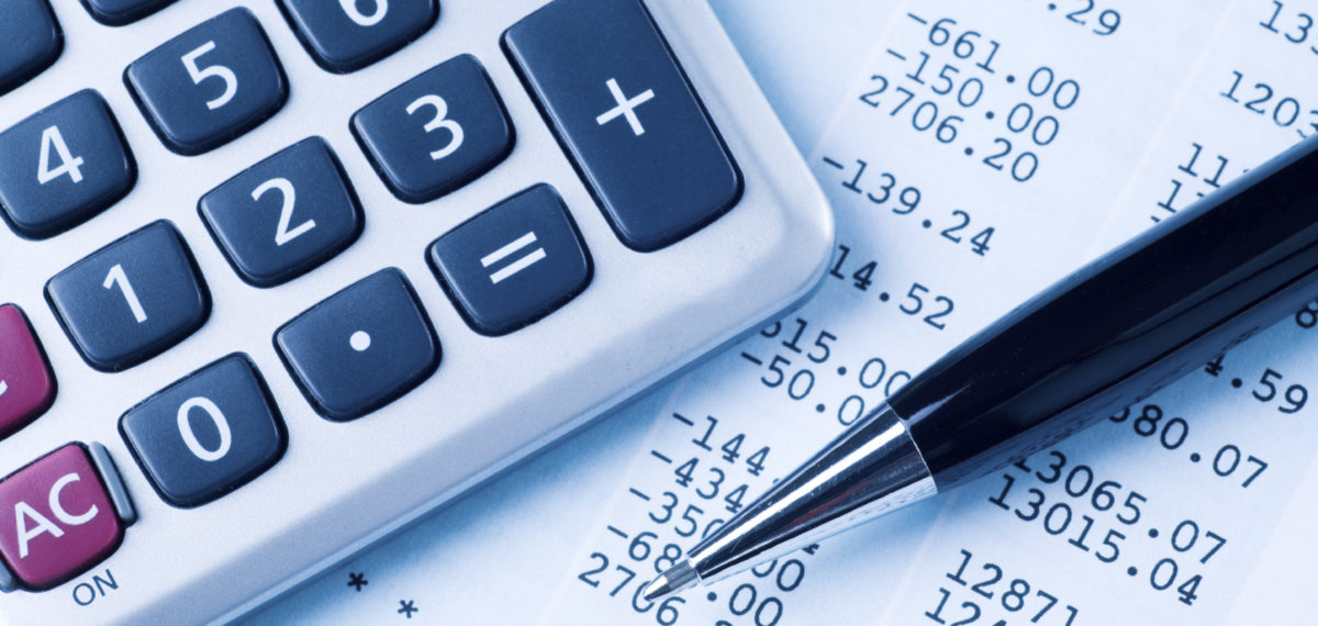 Calculator and pen for financial transactions